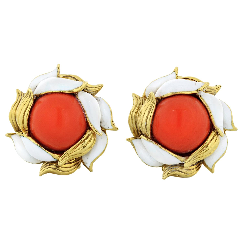 Tiffany & Co. 18 Karat Gold Coral White Enamel Clip-On Vintage Earrings