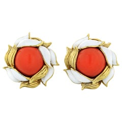 Tiffany & Co. 18 Karat Gold Coral White Enamel Clip-On Vintage Earrings