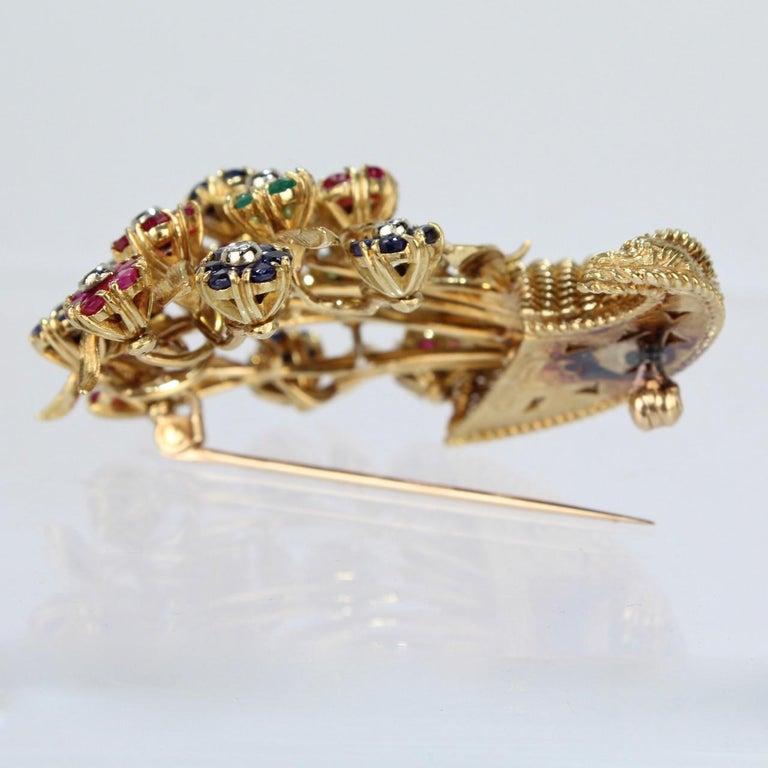 Tiffany & Co. 18 Karat Gold Diamond and Gemstone en Tremblant Cornucopia Brooch For Sale 4