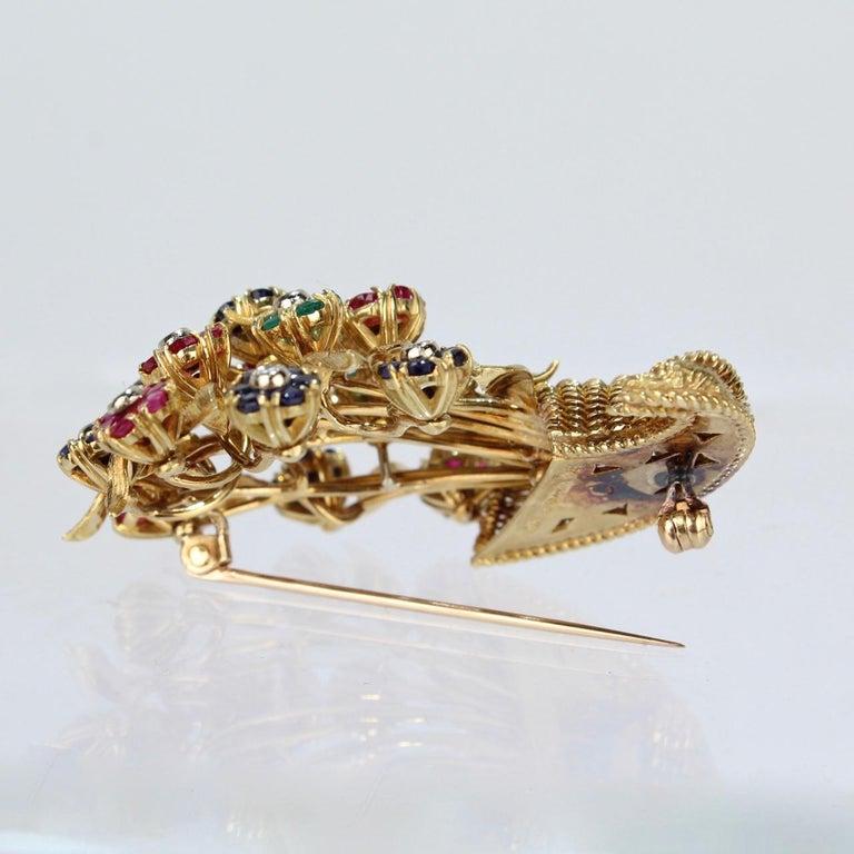 Tiffany & Co. 18 Karat Gold Diamond and Gemstone en Tremblant Cornucopia Brooch For Sale 5