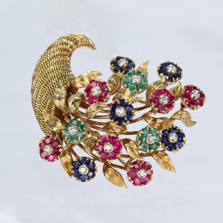 Tiffany & Co. 18 Karat Gold Diamond and Gemstone en Tremblant Cornucopia Brooch For Sale 6