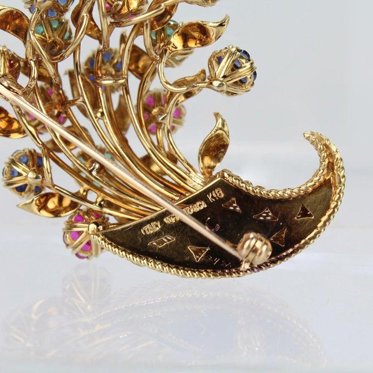 Tiffany & Co. 18 Karat Gold Diamond and Gemstone en Tremblant Cornucopia Brooch For Sale 7