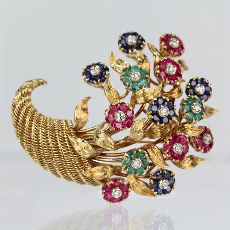 Modern Tiffany & Co. 18 Karat Gold Diamond and Gemstone en Tremblant Cornucopia Brooch For Sale