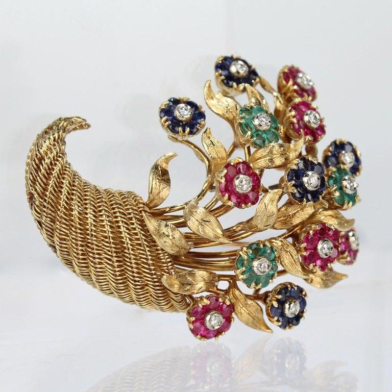 Round Cut Tiffany & Co. 18 Karat Gold Diamond and Gemstone en Tremblant Cornucopia Brooch For Sale