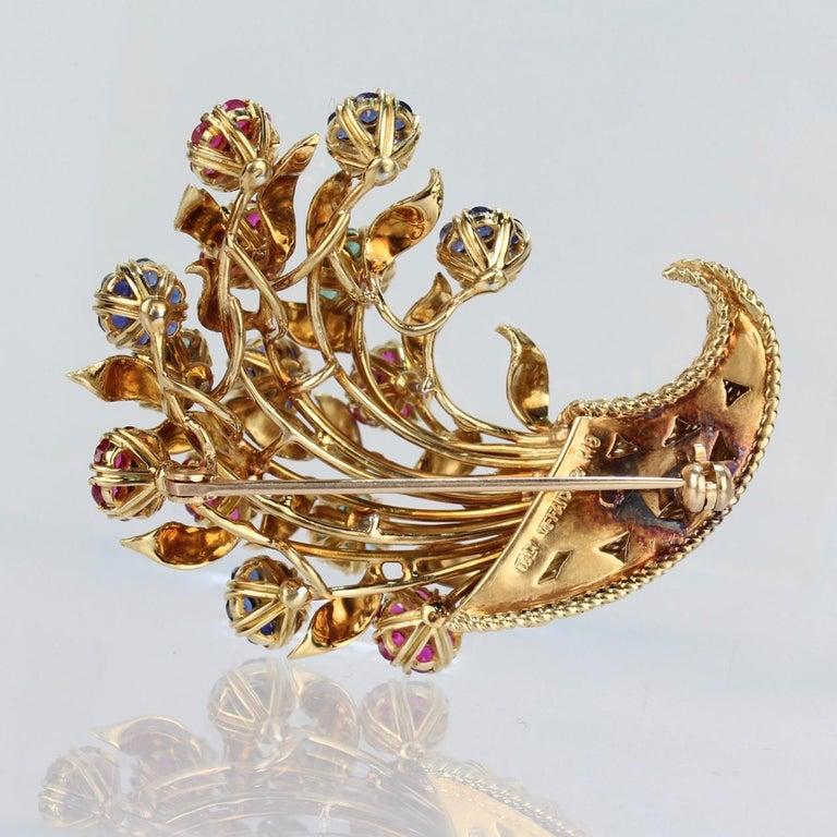 Tiffany & Co. 18 Karat Gold Diamond and Gemstone en Tremblant Cornucopia Brooch In Good Condition For Sale In Philadelphia, PA