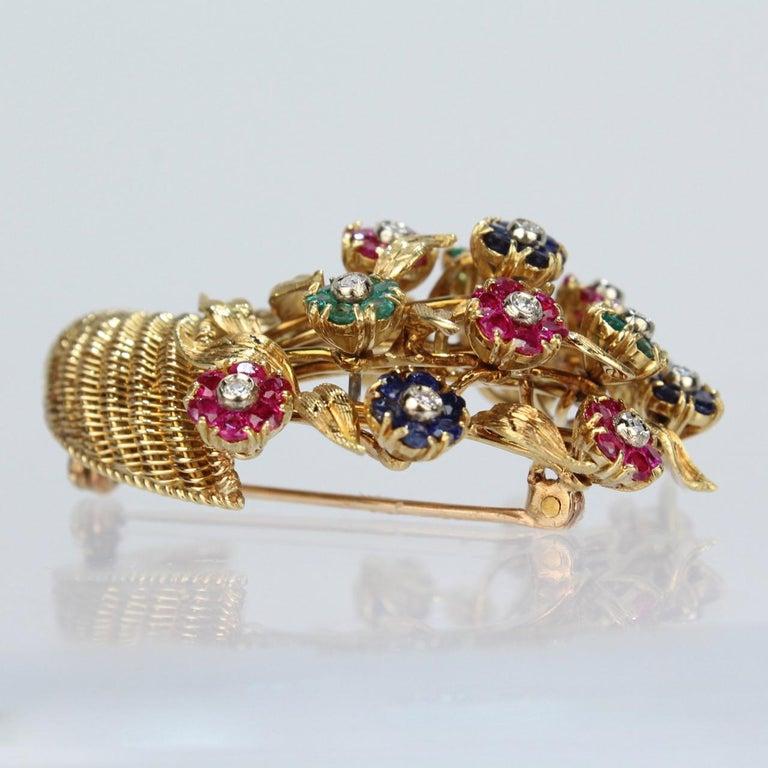 Women's Tiffany & Co. 18 Karat Gold Diamond and Gemstone en Tremblant Cornucopia Brooch For Sale