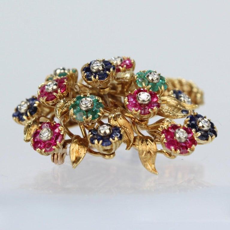 Tiffany & Co. 18 Karat Gold Diamond and Gemstone en Tremblant Cornucopia Brooch For Sale 1
