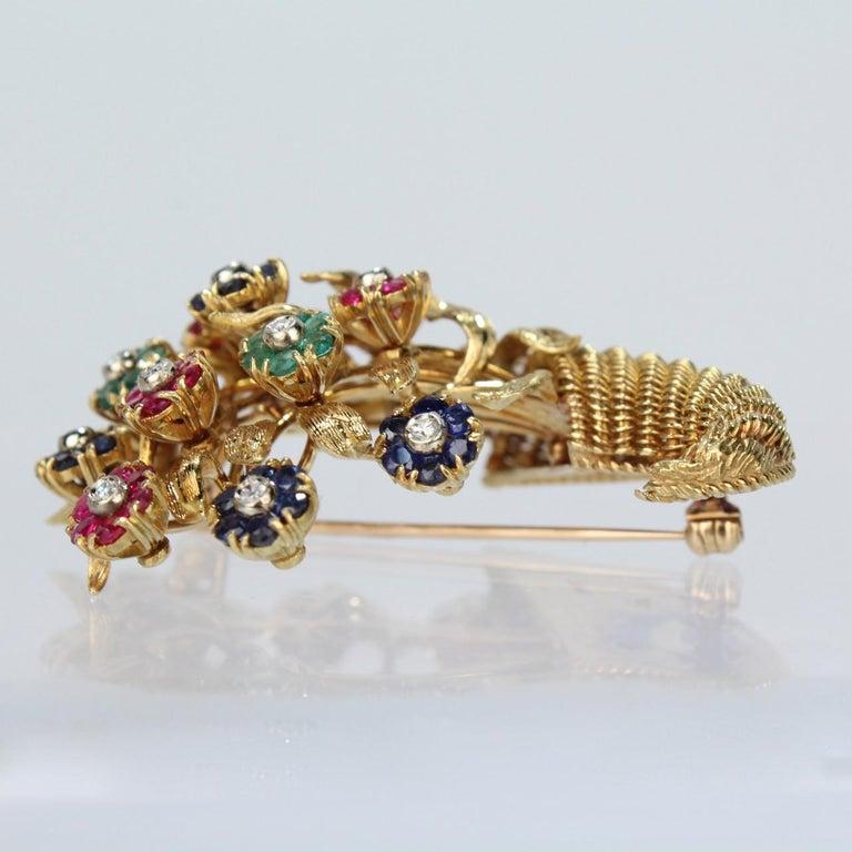 Tiffany & Co. 18 Karat Gold Diamond and Gemstone en Tremblant Cornucopia Brooch For Sale 2
