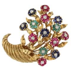 Tiffany & Co. 18 Karat Gold Diamond and Gemstone En Tremblant Cornucopia Brooch