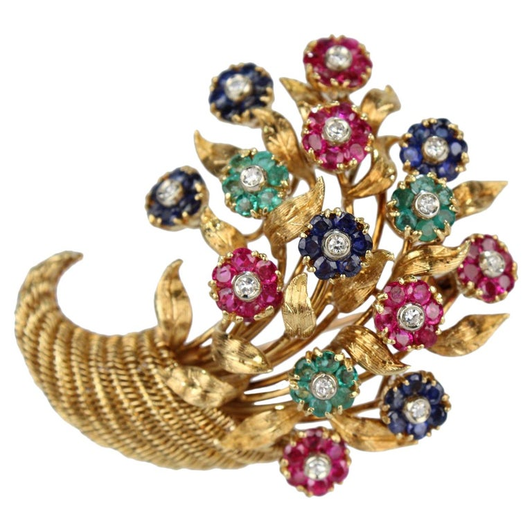 Tiffany & Co. 18 Karat Gold Diamond and Gemstone en Tremblant Cornucopia Brooch For Sale