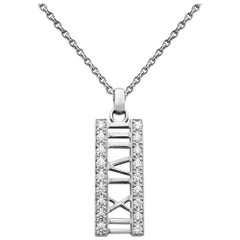 Tiffany & Co. 18 Karat Gold Diamond Atlas Bar Pendant Ladies Necklace 0.36 Carat