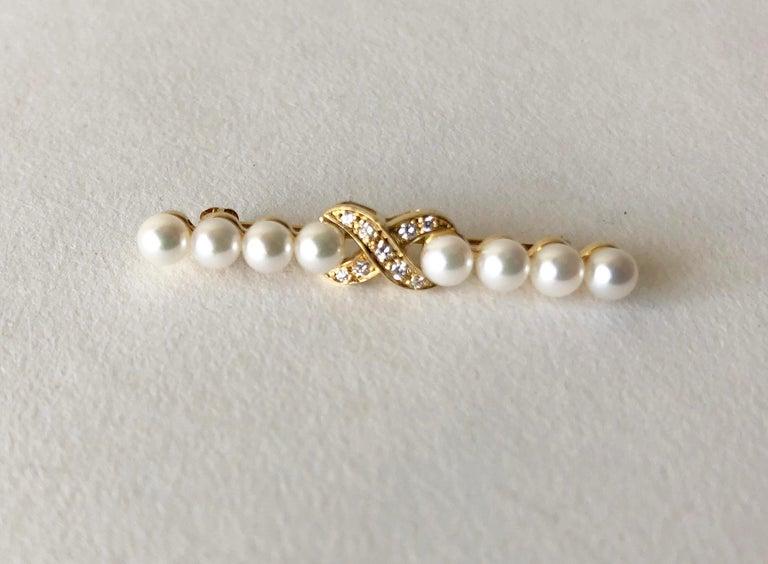 Artist Tiffany & Co. 18 Karat Gold Diamond Bar Pin Brooch For Sale