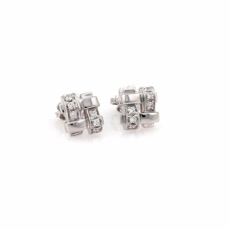 Tiffany & Co. 18 Karat Gold Diamond Vannerie Basket Weave Earrings 0.25 Carat For Sale 2
