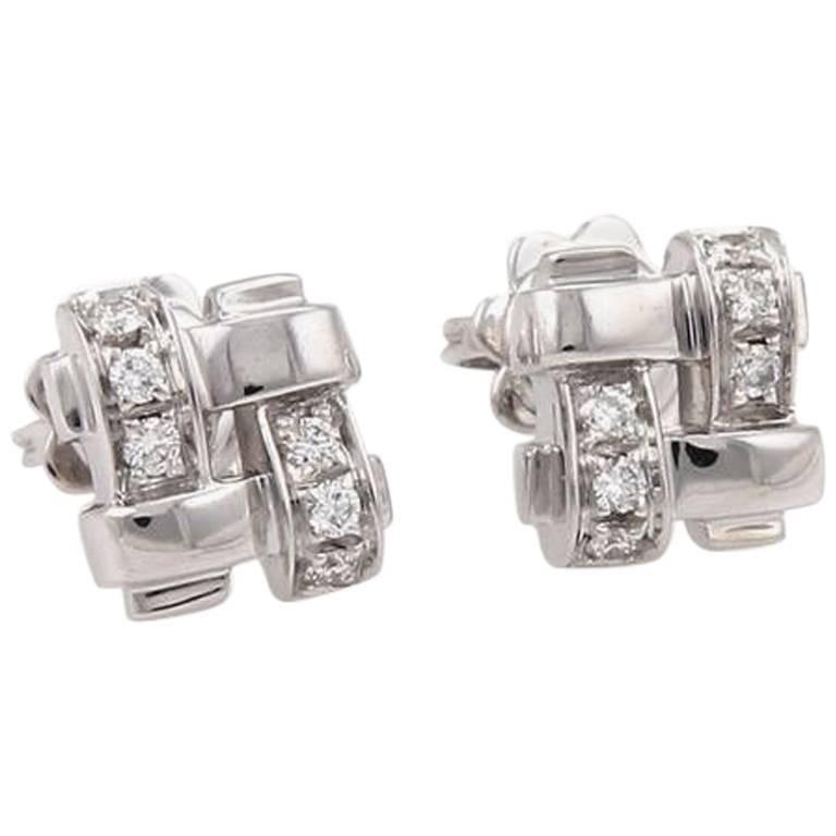 Tiffany & Co. 18 Karat Gold Diamond Vannerie Basket Weave Earrings 0.25 Carat For Sale