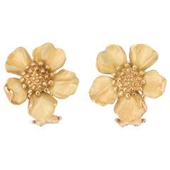 Tiffany & Co. 18 Karat Gold Dogwood Flower Ear Clips