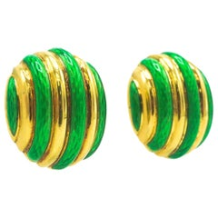 Tiffany & Co. 18 Karat Gold, Enamel and Gold Earrings of Fluted Bombe' Form