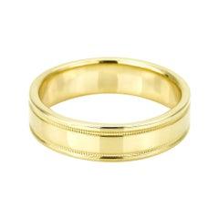 Tiffany & Co. 18 Karat Gold Essential Band Double Milgrain Ring