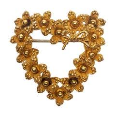 Tiffany & Co. 18 Karat Gold Floral Heart Brooch