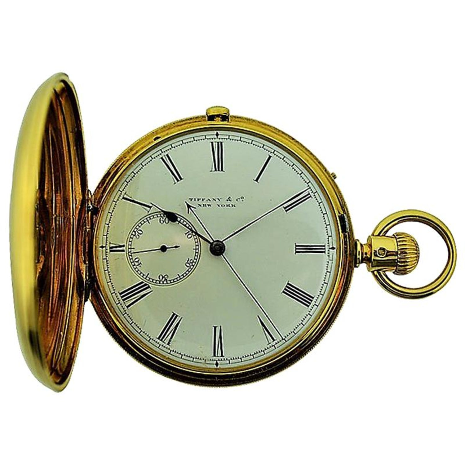 b46ba1b364d20 Tiffany and Co 18 Karat Gold Hunters Pocket Watch with Rare Sweep Seconds  Register at 1stdibs
