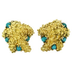 Tiffany & Co., 18 Karat Gold Ladies Clip-On Earrings with Turquoise, Italy 1990s