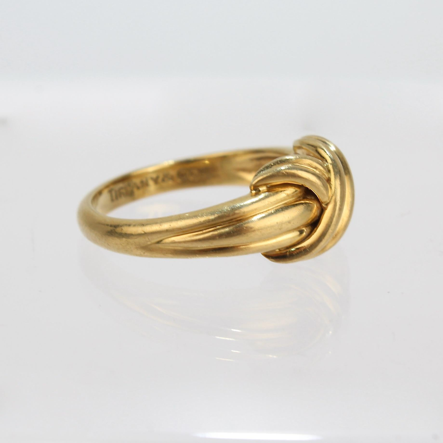 Tiffany And Co 18 Karat Gold Love Knot Ring For Sale At 1stdibs
