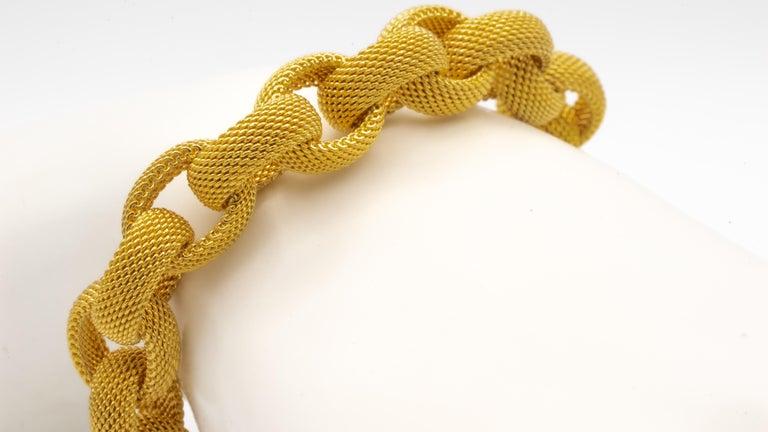 Tiffany & Co. 18 Karat Gold Mesh Link Toggle Bracelet For Sale 4
