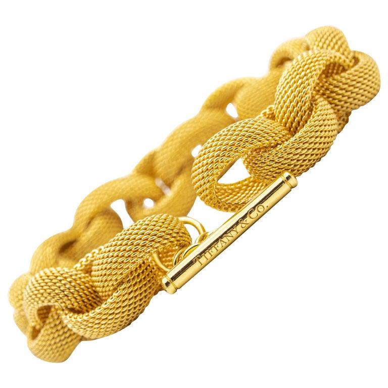 Tiffany & Co. 18 Karat Gold Mesh Link Toggle Bracelet For Sale
