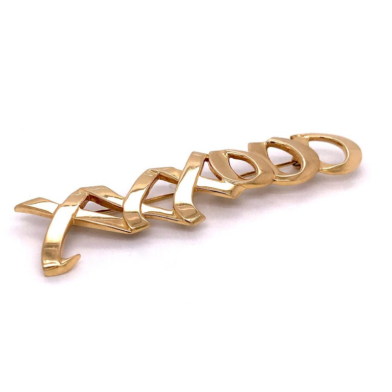Modern Tiffany & Co. 18 Karat Gold Paloma Picasso Graffiti Love & Kisses Brooch or Pin For Sale