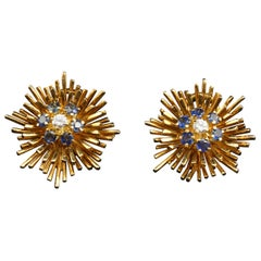 Tiffany & Co. 18 Karat Gold, Sapphire and Diamond Ear Clips, circa 1960s