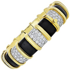 Tiffany & Co. 18 Karat Gold Schlumberger 19 Carat Diamond Black Enamel Bracelet