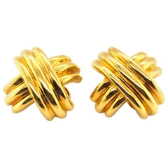 "Tiffany & Co. 18 Karat Gold Signature ""X"" Criss-Cross Clip-On Earrings"