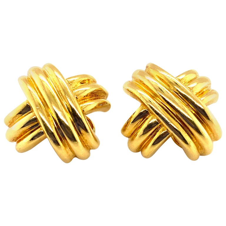"""Tiffany & Co. 18 Karat Gold Signature """"X"""" Criss-Cross Clip-On Earrings For Sale"""