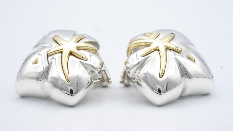 Tiffany & Co. 18 Karat Gold and Silver Leaf Motif Clip Earrings In Excellent Condition For Sale In New York, NY