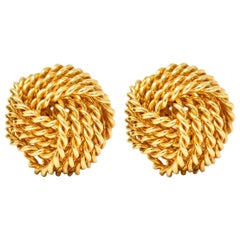 Tiffany & Co. 18 Karat Gold Tiffany Twist Knot Stud Earrings