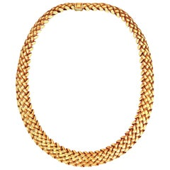 Tiffany & Co. 18 Karat Gold Vannerie Weave Necklace