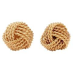 Tiffany & Co. 18 Karat Gold Vintage Knot Earrings