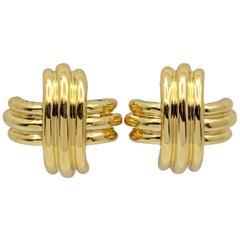 Tiffany & Co. 18 Karat Gold X-Form Clip-On Earrings