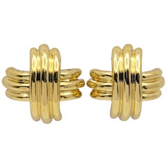Tiffany & Co. 18 Karat Gold X-Form Clip-On Earrings
