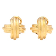 "Tiffany & Co. 18 Karat Gold ""X"" Motif Earrings"