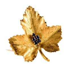 Tiffany & Co. 18 Karat Leaf Brooch with Sapphire
