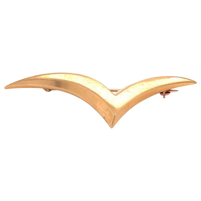 Tiffany & Co. 18 Karat Modern Gold Seagull Brooch or Pin For Sale