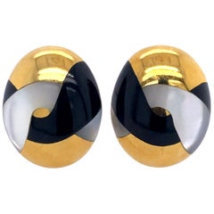 Tiffany & Co. 18 Karat Onyx and Mother and Pearl Earrings