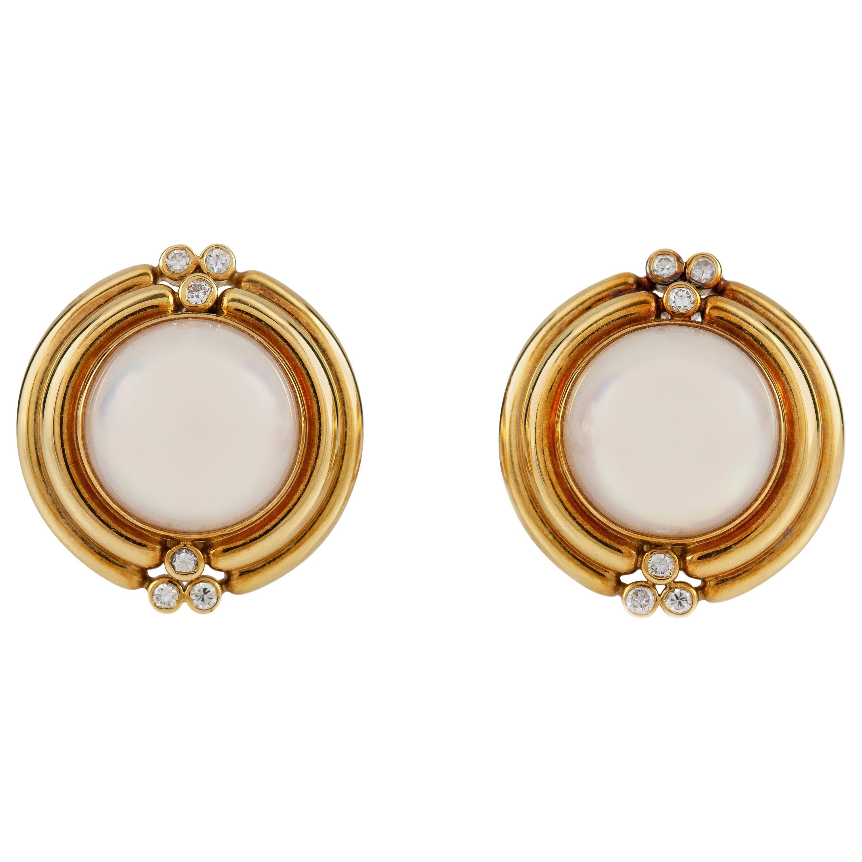 Tiffany & Co 18 Karat Pearl and Diamonds Round Earrings