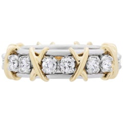 Tiffany & Co. 18 Karat Platinum and Gold Diamond Schlumberger Eternity Ring