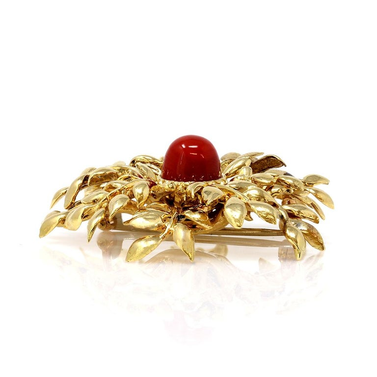 Modern Tiffany & Co. 18 Karat Red Coral and Yellow Gold Brooch For Sale
