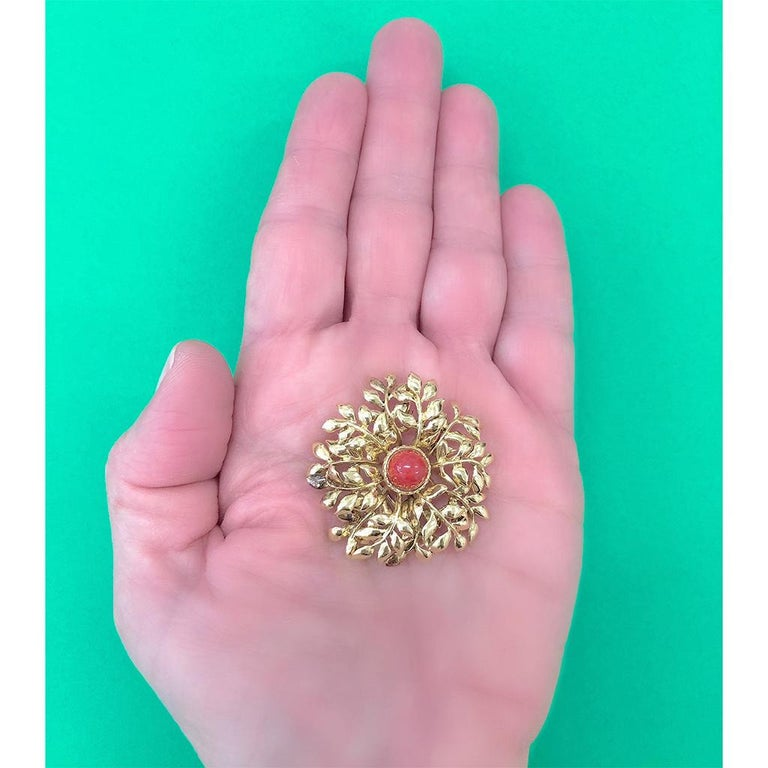Tiffany & Co. 18 Karat Red Coral and Yellow Gold Brooch In Excellent Condition For Sale In Miami, FL