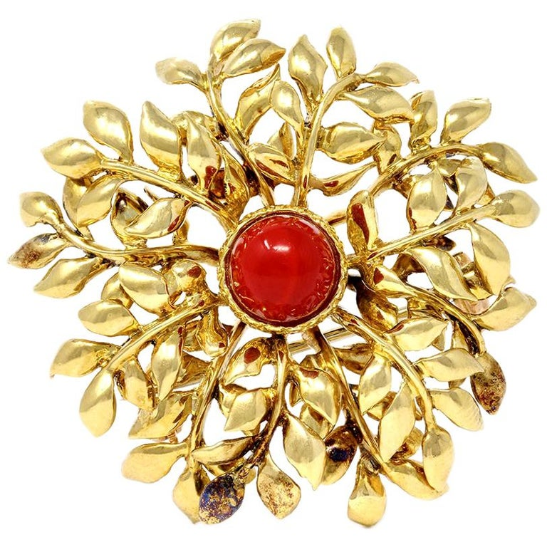 Tiffany & Co. 18 Karat Red Coral and Yellow Gold Brooch For Sale