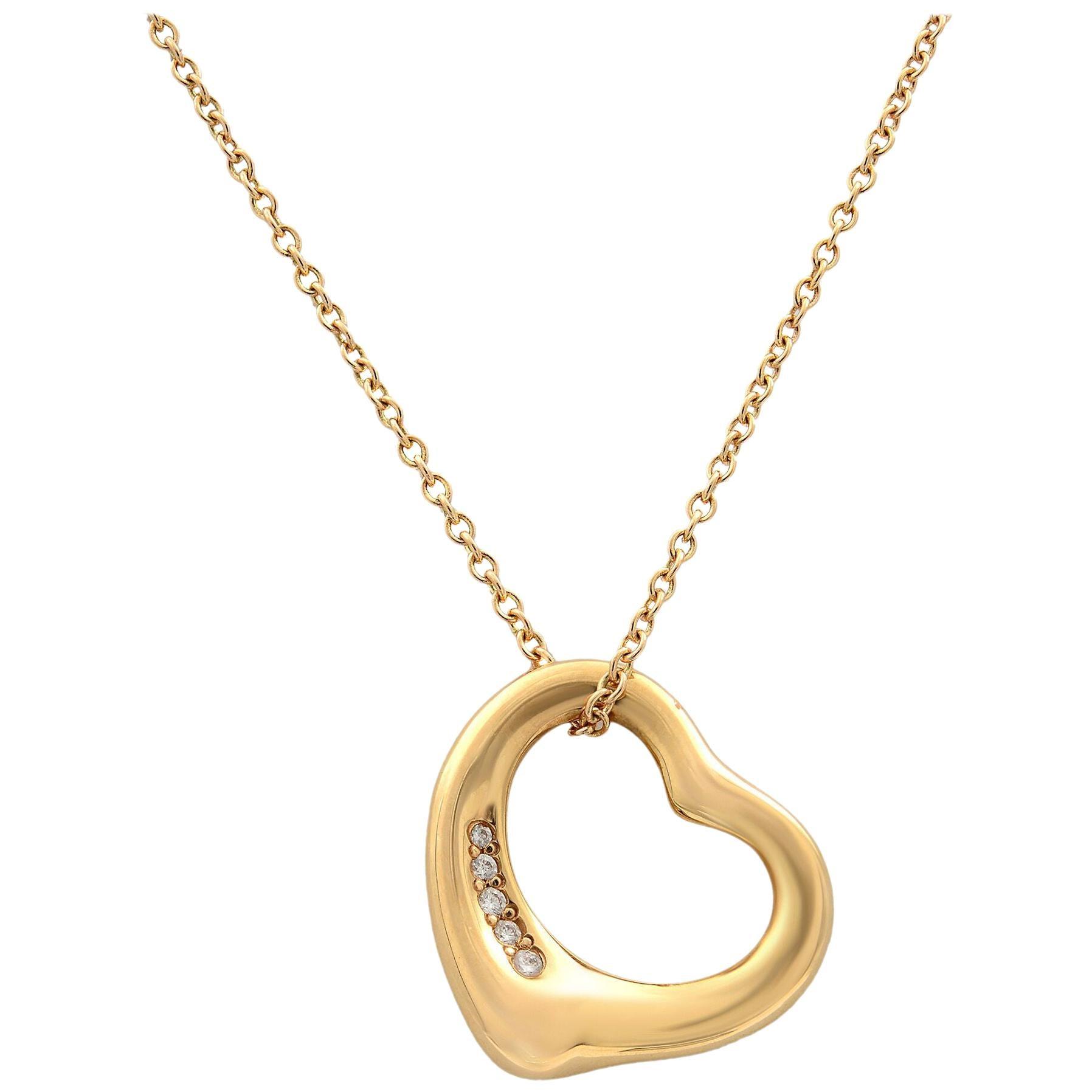 Tiffany & Co. 18 Karat Rose Gold Elsa Peretti Open Heart Pendant 0.02 Carat