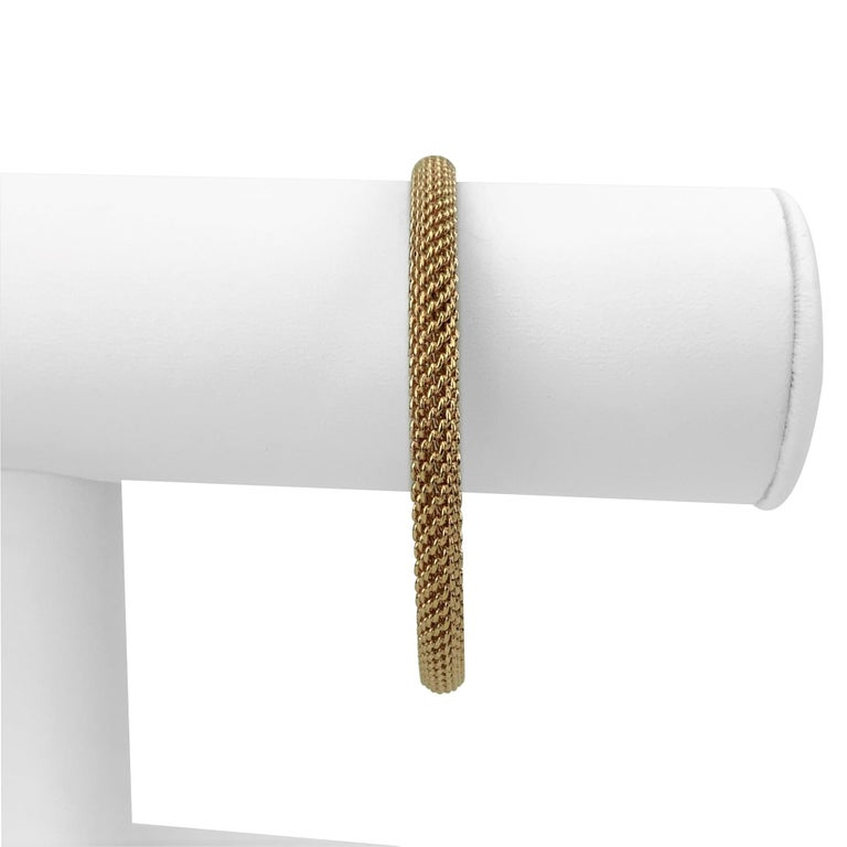 Tiffany & Co. 18 Karat Rose Gold Mesh Bangle Bracelet In Good Condition For Sale In Brandford, CT