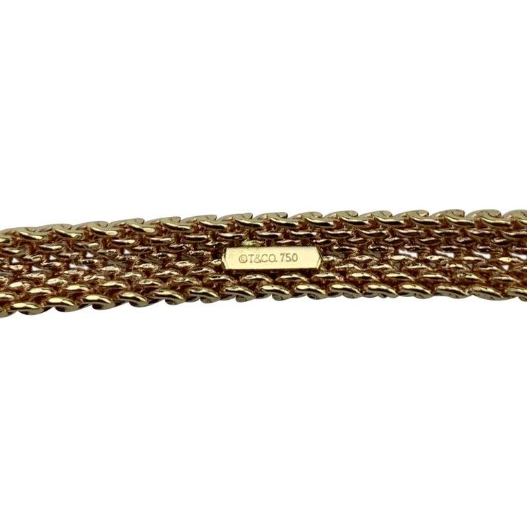 Tiffany & Co. 18 Karat Rose Gold Mesh Bangle Bracelet For Sale 1